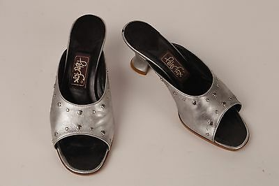 PETER FOX Silver Studded Mules S 6 Worn Once 2 1/2 in heel