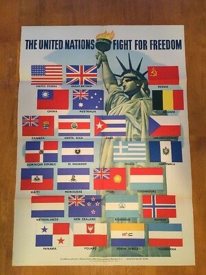 World War 2 Poster ORIGINAL 1942 United Nations Fight For Freedom Flags 28 x 20