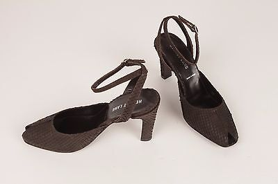 HELMUT LANG Brown TOOLED SUEDE Ankle strap open toe high heels S 36