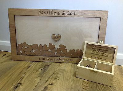 Personalised drop box Oak Wedding Guest Book