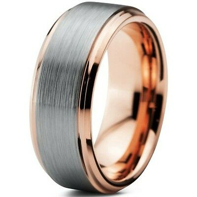 Tungsten Carbide Rose Gold, Brushed Silver Inlay Mens Wedding Ring New UK R007
