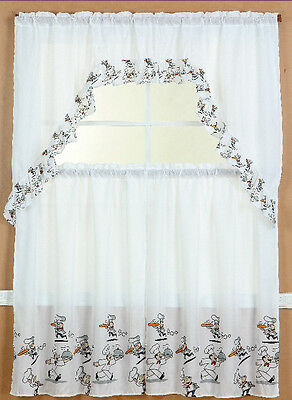 Chef Kitchen Window Curtain Treatment Tiers And Swag Country Style 3Pc Set