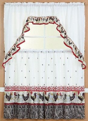#2Rooster Kitchen Window Curtain Treatment Tiers And Swag Country Style 3Pc Set