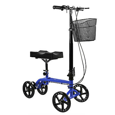 Clevr Foldable Medical Steerable Knee Walker Scooter Crutch Alternative Blue