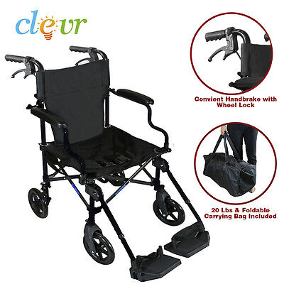 "Clevr Medical Aluminum Transport Chair Wheelchair 19"" Lightweight Foldable Black"