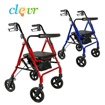 Clver Medical Four Wheel Rollator with Fold Up Removable Back Support