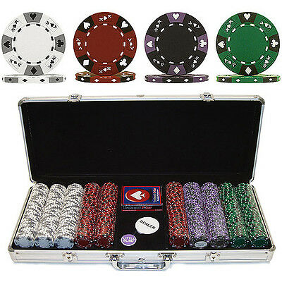 Trademark Poker 500 14 Gram 3 Color Ace/King Suited Clay Poker Chip Set with Al