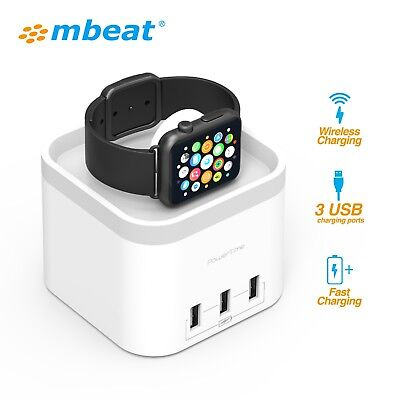 mbeat Power Time Apple Watch Dock with 3 Ports Smart Charging for mobile device