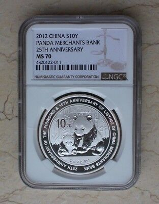 NGC MS70 China 2012 Silver 1 Oz Panda Coin - China Merchants Bank