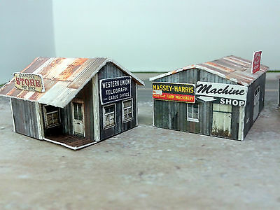 Z Scale Buildings Kit - (3) Weathered Effect Sheds - Coverstock Model Kit SK2