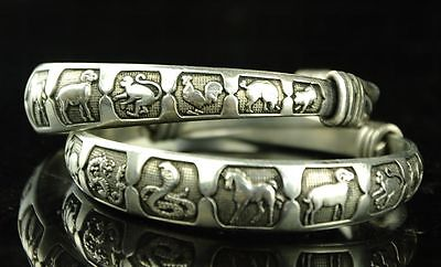 Old Collectibles Handwork Tibet - Silver Carving 12 Chinese Zodiac Pair Bracelet