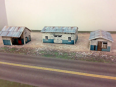 Z Scale Buildings Kit - (3) Weathered Effect Sheds - Coverstock Model Kit SK1