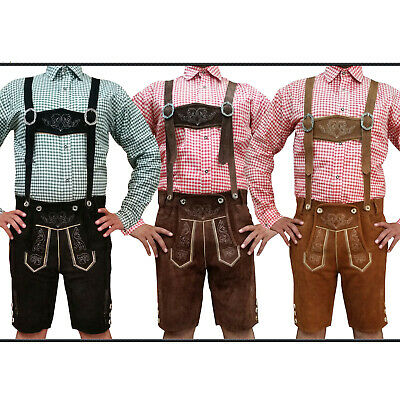 Men's Authentic Lederhosen German Bavarian Oktoberfest Trachten Short Outfit ST3