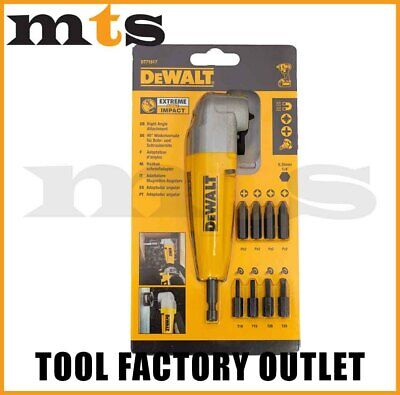 Dewalt Right Angle Drill Attachment With 9 Impact Screwdriving Bits  Dt71517