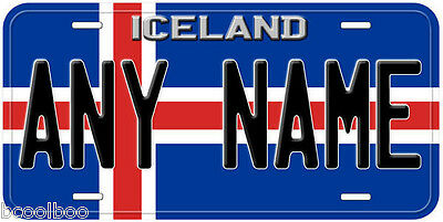 Iceland Flag Aluminum Novelty Car License Plate
