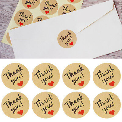 "60Pcs ""Thank You"" Craft Packaging Seals Kraft Sealing Sticker Label Cute Paper"