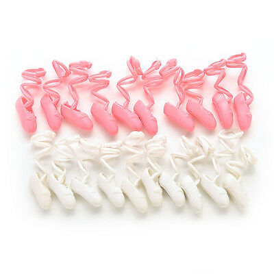 """10 Pairs Ballet Shoes Bind-type for 11"""" Barbie Doll Baby Color Random  BDAU"""