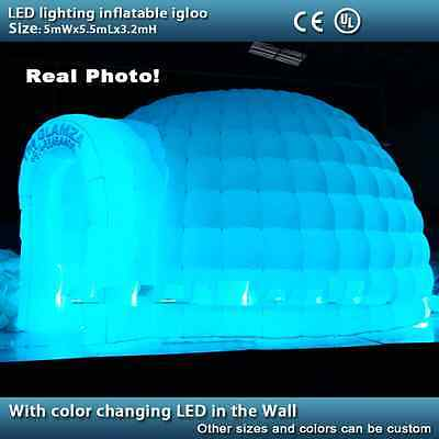 LED lighting inflatable igloo tent remote control color changing LED