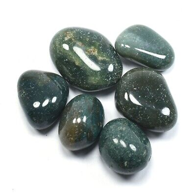 100g Natural Tumbled Green Moss Agate Lot (MossAg01)