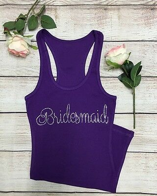 "Rhinestone ""bridesmaid"" Bride Tank Top Shirt Perfect Gift"