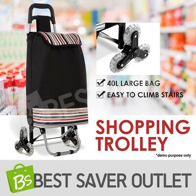 Shopping Cart Trolley Bag Carts w/ Vibrant Coloured Nylon Luggage Wheels Black