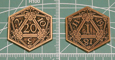 D&D Pass / Fail Coin Inspiration Token Copper D20 Metal Dice Dungeons & Dragons