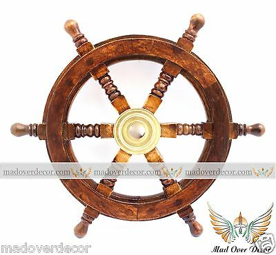 Nautical Maritime Wooden Ship Steering Wheel Pirate Decor Wood Brass Wall Decor