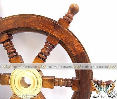 "12"" Collectable Wooden Ship Wheel Pirate Captain Boat Steering Nautical Martime"