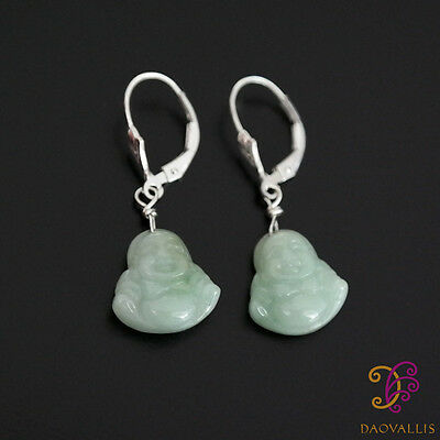 925 Silber (Jadeit) Jade Ohrringe Earrings Lucky Buddha 1,2 x 1,4 cm