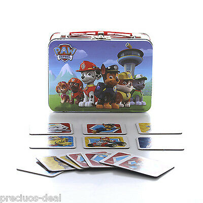 Paw Patrol Memory Match Game In Metal Carry Case 72 Cards Family Game Toy