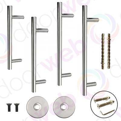 Guardsman LARGE DOOR PULL HANDLE Bar Rose Cover Fixing Bolt Stainless Steel 19mm