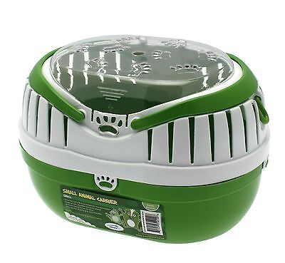 Small Animal Pet Carrier Green with Clear Top & Handles Gerbils Mice & Hamsters