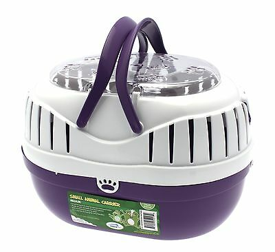 Large Small Animal Pet Carrier Purple Clear Top & Handles Degus Rats Guinea Pigs