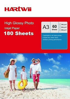 180 Sheets A3 180 / 230 / 240 / 260 Gsm High Glossy Photo Inkjet Paper Hartwii
