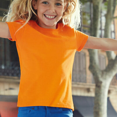 Fruit of the Loom Girls Soft Spun Everyday Plain T-shirts Kids Round Neck Casual