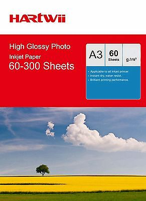 Hartwii A3 (497x210mm) 180 / 240 / 260 Gsm High Glossy Photo Inkjet Paper AU