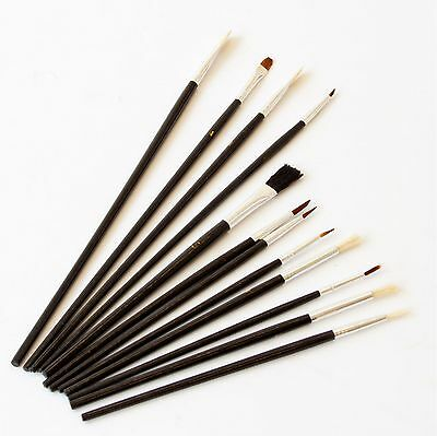 12 Pcs Artist Brushes Paint Brush Set FLAT & POINTED Various Size and Length
