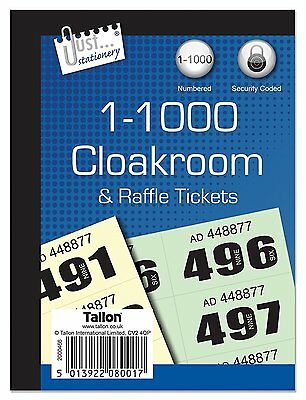 2 Books Cloakroom Raffle Tombola Draw Tickets Numbered 1 - 1000 Bingo Games