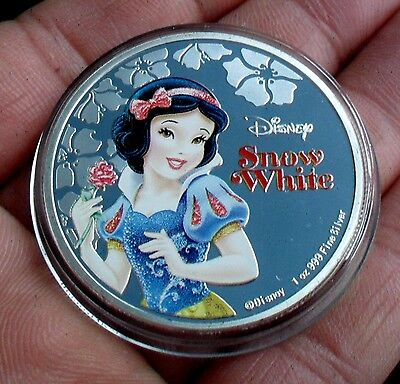 New Zealand 2015 Silver Plate Disney Snow White Coin In Capsule