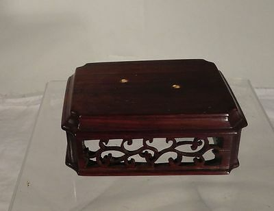 Antique Chinese Carved Hardwood Base Stand Lid Cover Reticulated Rosewood