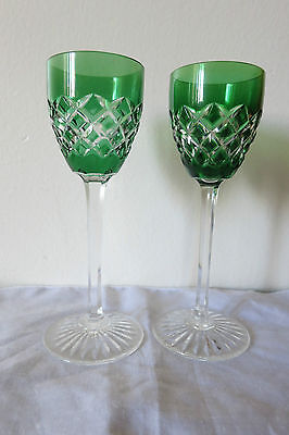 2 BACCARAT Emerald green cased Cut to Clear Crystal Cordial Liquer SIGNED
