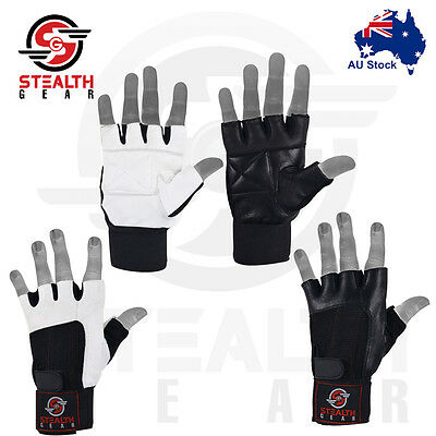 LEATHER Weightlifting GYM Exercise Fitness GLOVES workout Crossfit