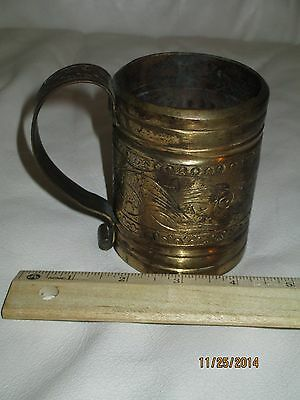 Vintage Solid Brass Hand Carved Cup- India