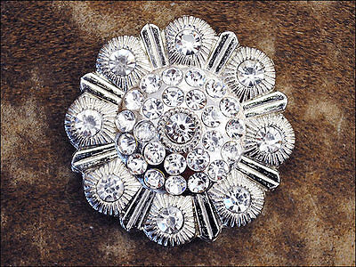 Set Of 4 Clear Rhinestone Berry Conchos Saddle Headstall Tack Bling Cowgirl