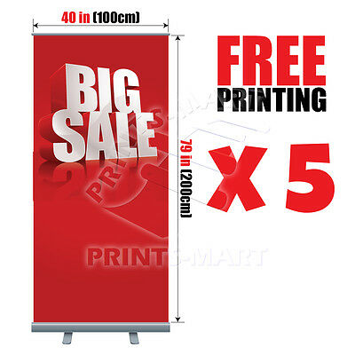 "(5X) 40""x79"" Trade Show Event Retractable Roll Up Banner Stand FREE PRINT & SHIP"