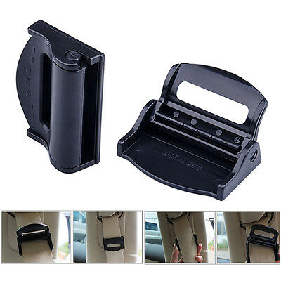 2x Car Seat Belt Adjuster Clip Belt Strap Clamp Shoulder Improves Comfort Safety