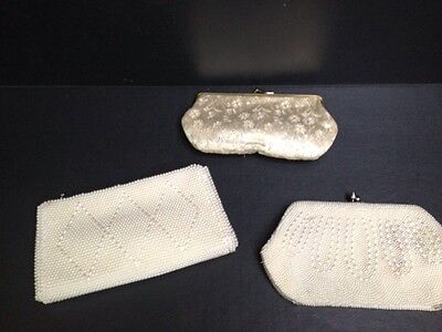 Lot of 3 vintage beaded Fabric purses white retro antique collection