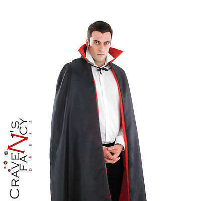"Adult Vampire Dracula LongCape 52"" Cloak Black Red Halloween Fancy Dress Costume"
