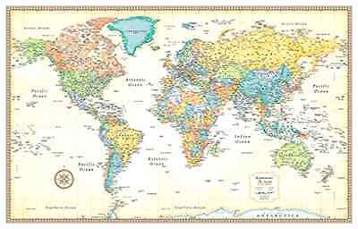 Classic World Map Wall Hanging Education School Supplies 50x32'' Classroom Decor