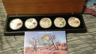 2013 Discover Australian Wildlife $1 Silver Colored Proof 5 Coin Set *Complete*